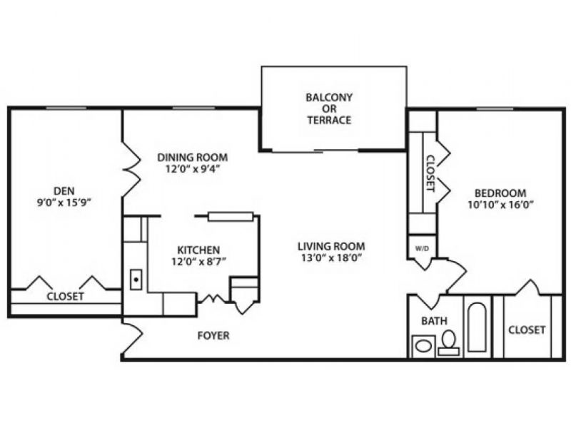 One Bedroom. One Bath Apartment with Den