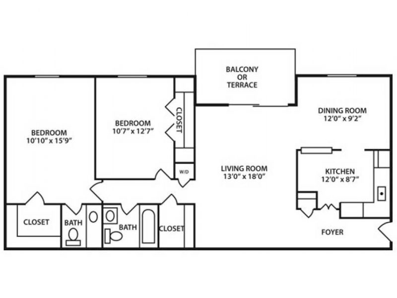 Two Bedroom and One and a half Bath